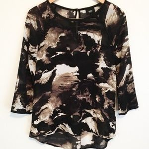 Black Brown Cream Abstract Print Top by Mossimo